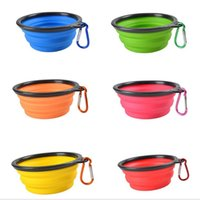Barato Água Da Dobra Do Cão-New Silicone Portable Folding Dog Bowl Expansível Cup Pet Feeds Food Water Travel Conveniência Pet Dog Climbing Buckle WL03