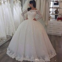 Wholesale Simple Winter Ball Dresses - 2017 New Arrive Long Sleeve Bateay Sheer Neck Wedding Dresses Ball Gown Lace Applique Floor-length Zipper Bridal Gowns Custom
