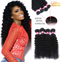 Vente De Tissus Péruviens Vierges Pas Cher-Big Sale! Non transformé Brésilien Péruvien Malaisien Indien Cheveux Cheveux Rides Tissage Double Trame Deep Wave Virgin Hair Weave Bundles Extension