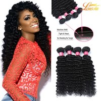 Wholesale Peruvian Big Waves Extensions - Big Sale!Unprocessed Brazilian Peruvian Malaysian Indian Curly Human Hair Weaving Double Weft Deep Wave Virgin Hair Weave Bundles Extension
