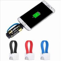 Wholesale Emergency Aa Portable Charger - 3 Colors Mini Portable Micro USB Phone Charger Cable AA Battery Power Emergency Outdoor Cell Phone Chargers CCA5735 60pcs
