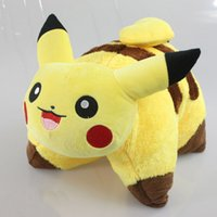 Wholesale Japanese Pillow Wholesale - Pikachu Plush Pillow Kawaii Japanese Anime Pikachu Plush Doll Toys Cute Eevee Sleep Cushion Soft Toys for Kids 45*35cm