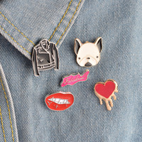 Wholesale Leather Jacket Sexy Woman - Fashion Cartoon Pins Brooch Lapel Pin Badge Sexy Lip Heart French Bulldog Leather Jacket Design For Women Girl Jewelry