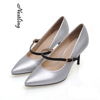 Wholesale Color Block Dresses Office - High Quality Fashion Women Ladies Pointed Toe High Heel Shoes Color-block Strap Dress Shoes Office Lady Stiletto Heel Work Party Pumps