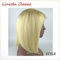 Wholesale Blonde Short Hair Styles - #613 Best blonde 8A Peruvian Virgin Human Hair Bob Wigs Unprocessed Straight Front Full Lace Wigs Bob Styled Human Hair Top Quality Glueless