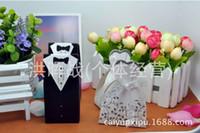 Wholesale Tuxedo Card Invitations - Wholesale- 2015 real wedding invitations 100pcs originality tuxedo dress groom bridal wedding favor boxes place card holders