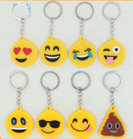 Wholesale Cartoon Kids Bag Strap - MIX STYLE Emoji pvc Keychains toys for kids round straps bag double print emoji Cartoon Keychains emoji Fashion Accessories