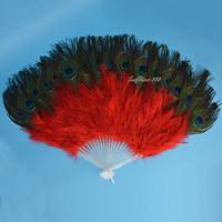pfauenfeder augen großhandel-Mode Jubiläum rot handgemachte chinesische Faltfeder Hand Pfau Auge Fan für Party Home Decor Dance Show Party Favors