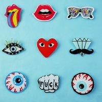 Wholesale Cheap Tongue - Cheap Brooches Hot Fashion Brooches Acrylic Lovely Girl Gift Children Punk Eyes Lips Big Tongue People Brooch Pin Badge Badges