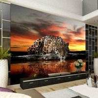 Wholesale tiger print bedroom - Large personality mural tiger leopard elephant living room sofa bedroom TV background wallpaper KTVi bar wallpaper