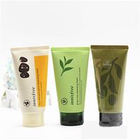 gesichtsreinigung cremes großhandel-INNISFREE Jeju-Vulkan Pore Reinigungsschaum Olive Echt Cleasing Foam Green Tea Reinigung Reiniger Gesichtsschaum-Gesichtscreme