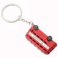 Wholesale Union Jack Keychain - Red London Bus With Union Jack Flag Keyring Keychain - 3D Model Metal i love london Key Chain Ring Holder Souvenir