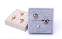 Wholesale High Quality Ring Tray - [Simple Seven] Brief Korean Linen Bracelet Display High Quality Ice Velvet Rings Trays Earring Stud Cases Jewelry Container