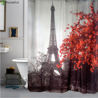 Wholesale flower shower curtain resale online - Eiffel Tower Flower Waterproof Shower Curtain Polyester Fabric Bath Bathing Bathroom Curtains with Hooks for Home Decorations