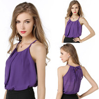 Wholesale Purple Blouses For Women - Sexy lace plus size crop tops women tank chiffon collar womens tank top shirts double layer tank tops style for women clothes blouses