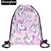 Wholesale Coffee Backpacks - Wholesale- Deanfun 3D Printing Backpack Unicorn Pattern Women Drawstring Bag SKD90