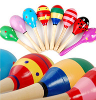 Wholesale Maracas Instrument - Wholesale- Small Wooden Maracas Baby Kids Child Musical Instrument Rattle Shaker Party Toy