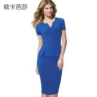 vestido azul de duas partes bodycon venda por atacado-Manga curta Escritório Lady Pencil Dress Com Decote Em V 2017 Verão New Arrival Império Europeu Sexy Falso Duas Peças Bodycon Vestido Azul