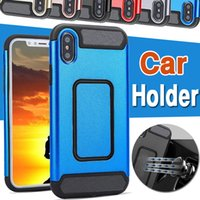 Wholesale Car Tank Cover - Magnetic Phone Case Tank Armor Carbon Fiber Protection Design Car Holder Hybrid Shockproof Hard PC Shell Cover For iPhone X 8 7 plus 6 6S