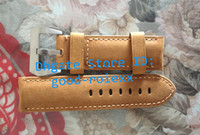 Wholesale 24mm Italian Leather Watch Strap - 22mm 24mm 26mm Deployment Italian Brown Genuine Pam Calf Leather Watch Strap Clasp Buckle Radiomir 1940 Original Band Marina Mens Watches
