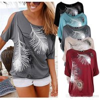 Wholesale Feather Print Blouse - Women Short Sleeve Loose Casual feather Split Sleeve Print T-shirt Tops Blouse