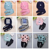 Wholesale Girls Fleece Pants - 2017 New autumn kids clothing cotton Cute long sleeve fleece & pant baby girls boy clothing sets childern suit set kids clothes