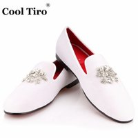 Wholesale Crystal Wedding Flats - Crystal Pendant Red bottoms Loafers Men Flats White Velvet Shoes Casual Slip Slippers Party Wedding Men's Dress Shoes Gentleman formal