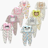 Wholesale Dog Baby Sets - Baby Cute Animal printing Romper 2pc set Embroidery Bib Printing long sleeves Romer Dog Bear Owl Fox Dog 8colors for infants outfits 3-12M