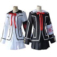 Wholesale school uniform costumes cosplay - Vampire Knight Cosplay Costume Kurosu Kuran Yuki Souen Ruka Seiren Day Night Class White Black School Uniforms Full Set Suits