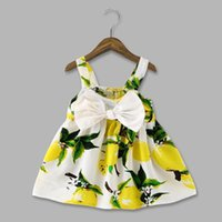 Baby Print Lemon Robes Enfant Girl Été Bow Floral Dress filles Mode de coton Fruit Dress 0-3T Baby