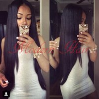 Barato 14-26 Inch Long Silky Straight Sintético Lace Frente Peruca / Full Lace Wig Resistente ao calor Swiss Lace With Baby Hair para Black Women