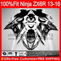 Wholesale 636 Ninja White - 8Gifts Injection For KAWASAKI NINJA ZX636 ZX6R 2013 2014 2015 2016 white black 24NO36 600CC ZX-636 ZX-6R ZX 636 ZX 6R 13 14 15 16 Fairing