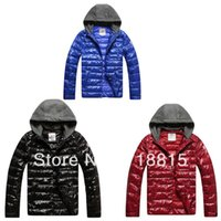 Wholesale Glossy Black Jacket - Wholesale- Free Shipping 2013 New Arrival White Duck Down Jacket Men Casual Glossy Hooded Parkas Coat Black Blue Red 3 Colors,M-XXL
