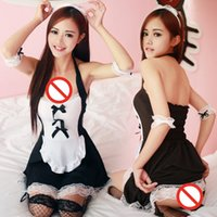 Wholesale Maid Clothing - Wholesale-New Arrival Cosplay Maid Lovely Girl Suit Hanging Neck Lace Maid Uniform Temptation Princess Role Clothes Sexy Underwear