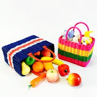 Wholesale Large Baskets Wholesale - Hand-woven Plastic Woven Baskets Shopping basket Multi-functional basket PE handle large medium small size for Home storage