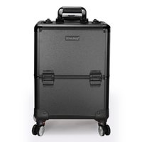 TENSUNVIS Aluminium Trolley Trousse de maquillage Rolling Beauty Cosmetic Lock Box w / Main (Noir) TT-235TB Vente-Vendeur