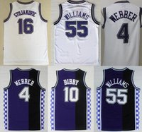 Wholesale 55 Clothing Men - High quality Men's #55 Jason Williams Jersey Kings#4 Chris Webber Basketball Clothing 100% Stitched Retro shirt free shipping Accept