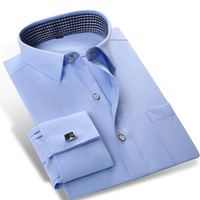 vestido de manga del puño al por mayor-Al por mayor- 2016 hombres de color sólido French Cuff Dress Shirts (incluidas gemelos) de manga larga Classic-fit Square Collar Inner Plaid Shirt