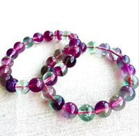 Wholesale Variety Beads - The new Natural AAA Fully Colored Fluorite Bracelet A Variety of size Round Bead bracelet Free shipping