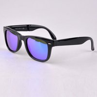 Wholesale brand new fashion mirror folding sunglasses Top quality sunglasses men sunglasses women outdoor traveler style with original accessories