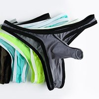 Wholesale Bikini Low Rise Underwear Men - Gay Underwear sexy shorts Male g string thongs Crazy Mens Bikini Penis sheath hombre big sheer Slip elephant Panties