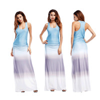 Wholesale Cheap Tank Top Dresses - wholesale cheap price make deal summer style tank top ombre sleeveless long maxi dress for women
