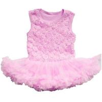 Wholesale Girl S Vest Tutu Dress - Wholesale- Kid Girls Rose Flower Lace Tutu Rompers Dress Vest Ballet Ruffle Dress S M L