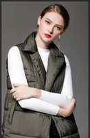 Wholesale Womens Down Vest L - 2018 long army green white black womens vests outerwear sleeveless women coats high quality winter thick womens outweaer coats