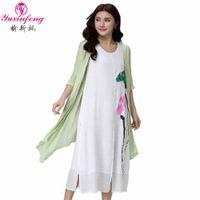 Wholesale Plus Size Chinese Dresses Clothing - Wholesale- 5XL 4XL Summer Dresses 2017 Plus Size 2pcs Trationals Chinese Dress Half Sleeve plus size women clothing vestidos de playa