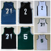 Wholesale New Cotton Men S - New Throwback 21 Kevin Garnett Jersey High Quality Stitched 5 Kevin Garnett Vintage Basketball Jerseys 2 Blue White Green with player name