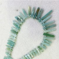 """Wholesale Green Amazonite - Natural Genuine Raw Mineral Blue Amazonite Slabs Slices Flat Stick Nugget Teeth Beads Drill Side Fit Jewelry Necklace Bracelets 15"""" 04309"""