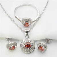 Wholesale Silver Emerald Pendants - Round red garnet 925 sterling silver jewelry set women ms silver earring, ring, pendant necklace gift Free shipping