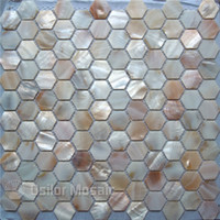 Wholesale natural color natural Chinese freshwater shell mother of pearl mosaic tile for kithen and washroom decoration wall tile hexagon style