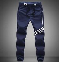 Wholesale Printed Leggings Large Size - 2017 Large size Fashion Men pants white stripe elastic waist printed mens brand man pants free shipping